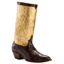 Load image into Gallery viewer, Genuine American Alligator with Hand Carved / Tooled 23.5K Gilt Tops Handmade Boots