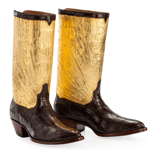 Genuine American Alligator with Hand Carved / Tooled 23.5K Gilt Tops Handmade Boots