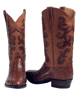 Genuine American Alligator Tail Cut Boot w/ Alligator Scroll Inlays