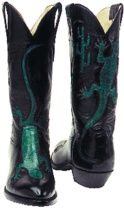 """The Gecko"" Genuine Calf w/ Teju Lizard Overlay Handmade Boots"