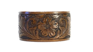 Hand Tooled Leather Handmade Cuffs (1.5 Inch)