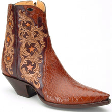 "Load image into Gallery viewer, ""Mesquite"" Carved Leather w/ Genuine American Alligator  Handmade Ankle Boots"