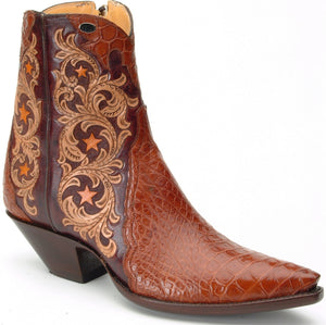 """Mesquite"" Carved Leather w/ Genuine American Alligator  Handmade Ankle Boots"