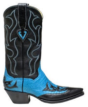 "Load image into Gallery viewer, ""La Maria"" Genuine Teju Lizard & Calf Tops w/ Overlay Handmade Boots"