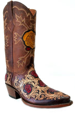 "Load image into Gallery viewer, ""Mesquite Rose"" Hand Carved / Tooled Handmade Boots"