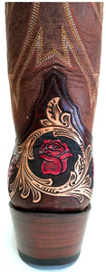 """Mesquite Rose"" Hand Carved / Tooled Handmade Boots"