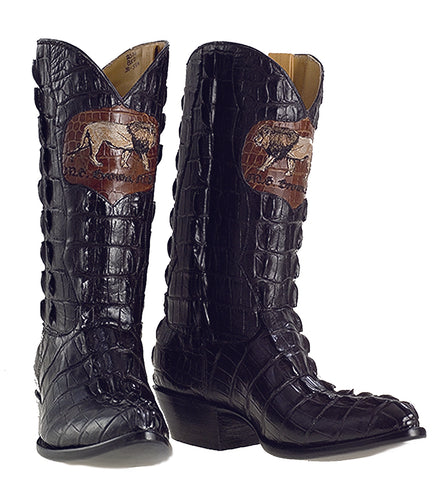 Seamless Full Genuine American Alligator Tail Cut Handmade Boots