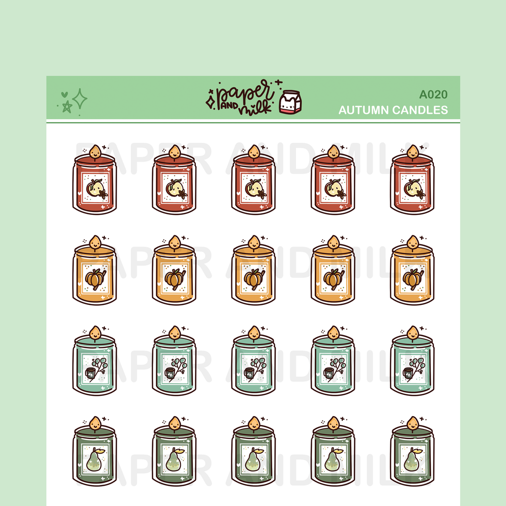 Autumn Candles | Doodle Stickers