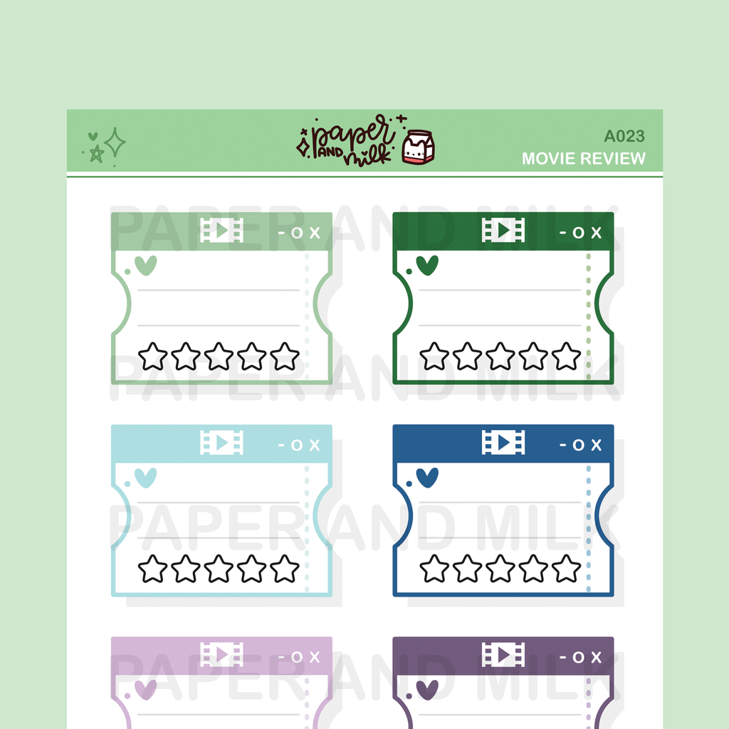 Movie Review - Multicolor Green/Blue | Doodle Stickers