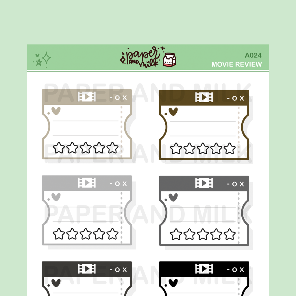 Movie Review - Multicolor Neutral | Doodle Stickers