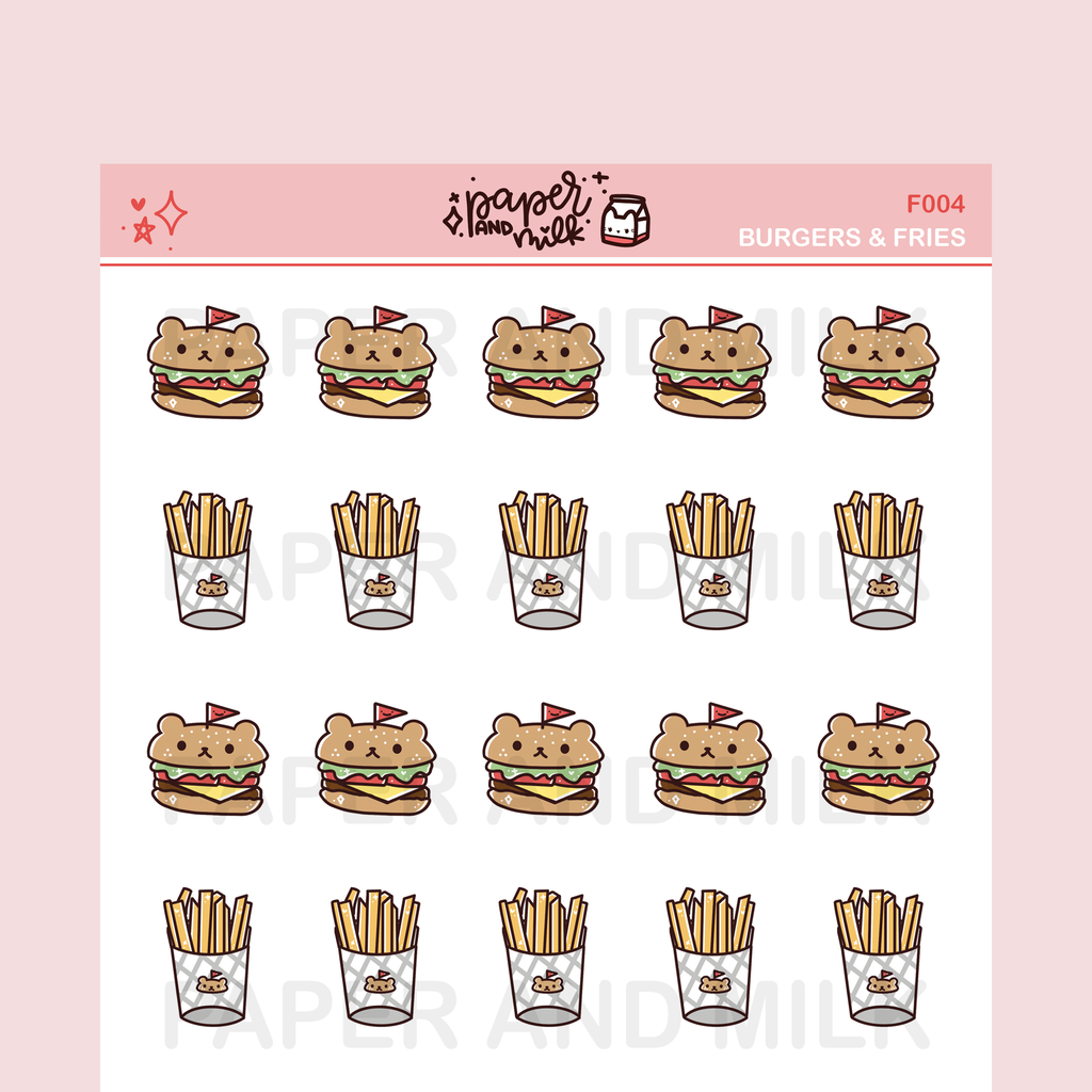 Burgers & Fries | Doodle Stickers