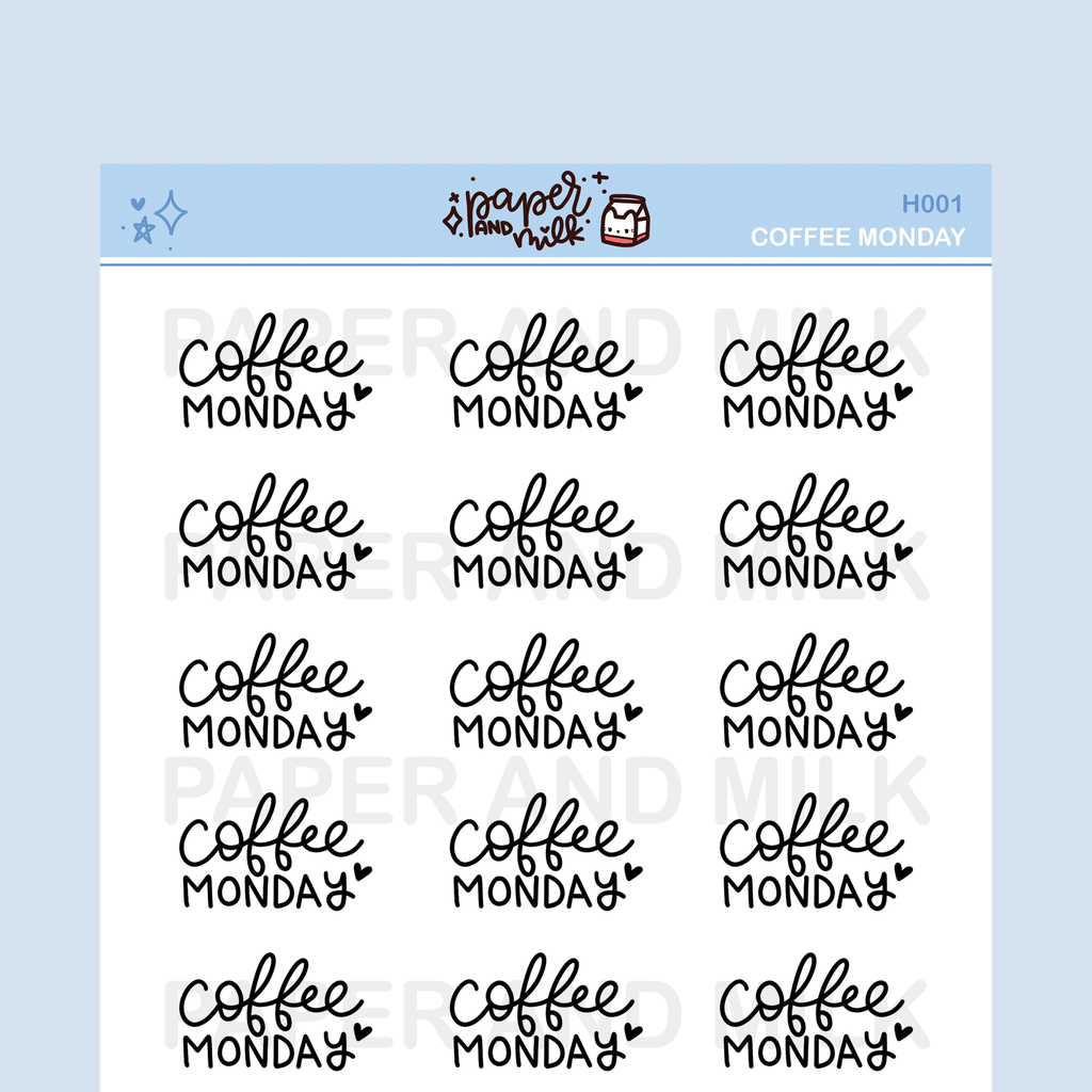 Coffee Monday | Hand-lettered Stickers