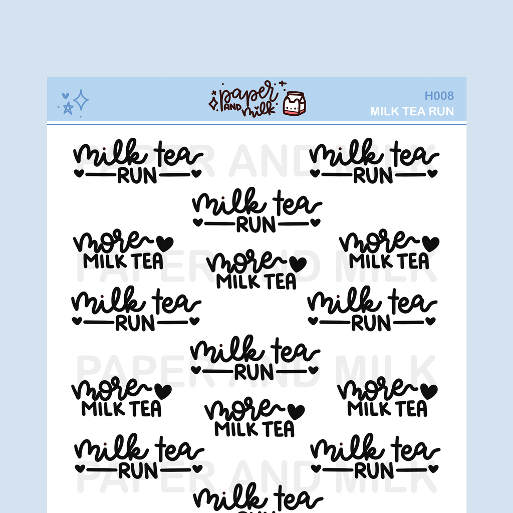 Milk Tea Phrases | Hand-lettered Stickers