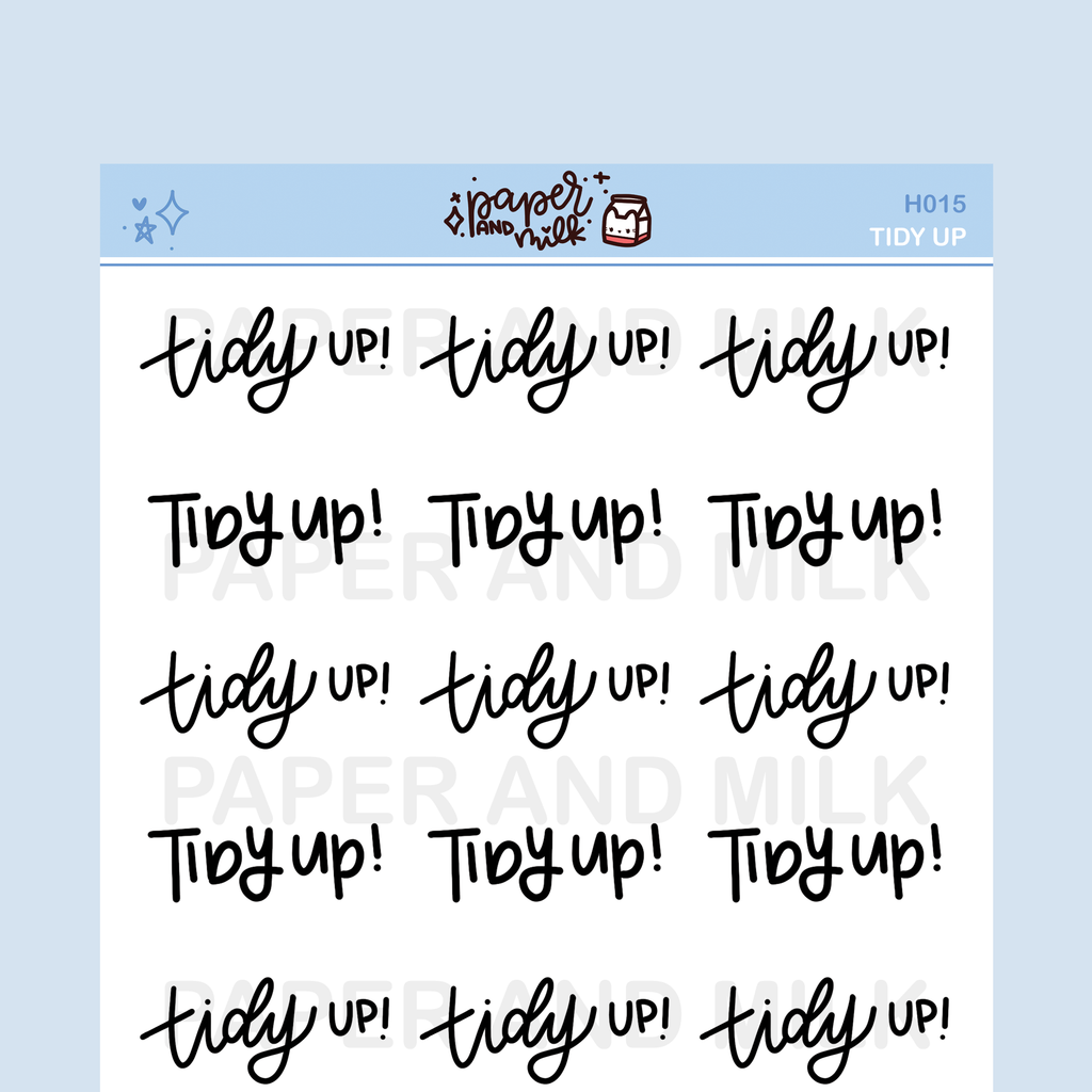 Tidy Up | Hand-lettered Stickers