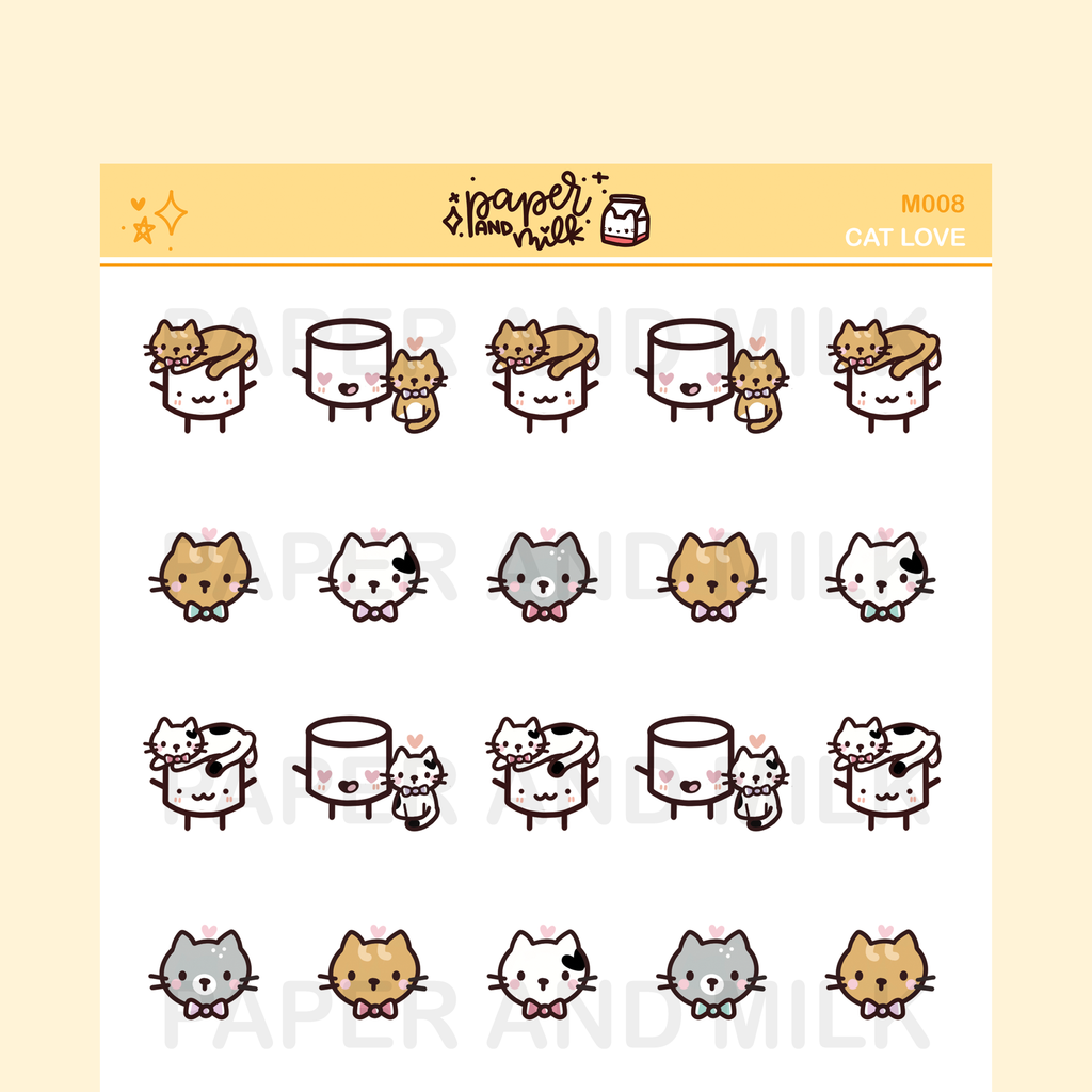 Cat Love | Maru the Mini Marshmallow Stickers