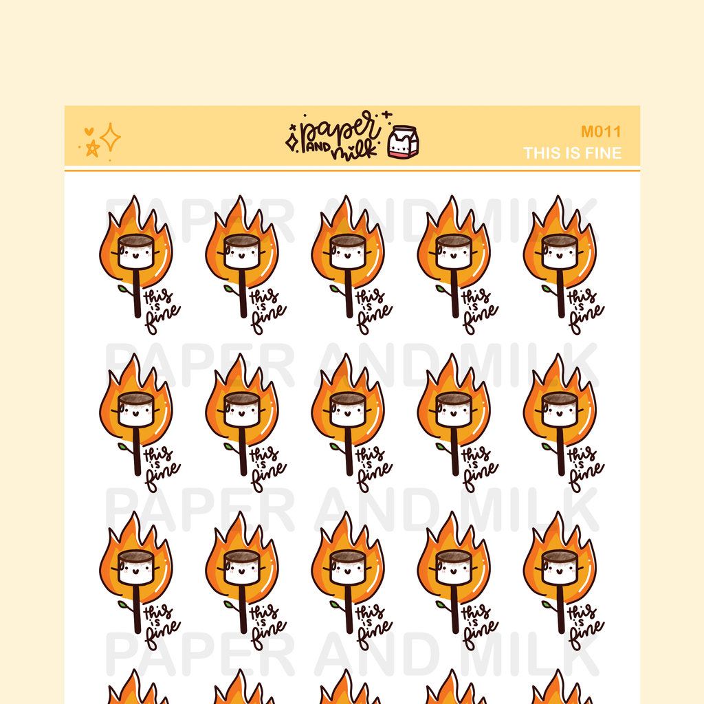 This is Fine - Stressed | Maru the Mini Marshmallow Stickers