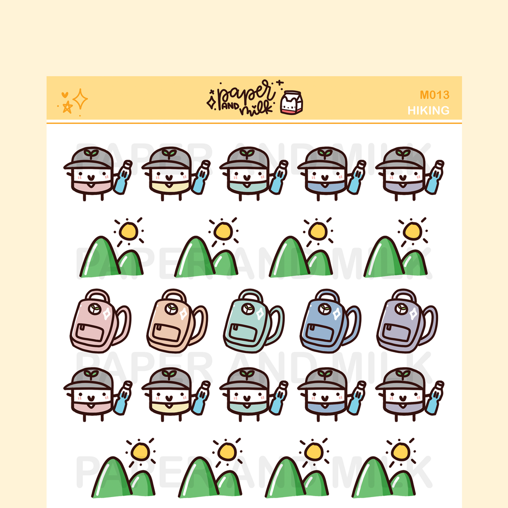 Hiking - Outdoors - Backpacking | Maru the Mini Marshmallow Stickers