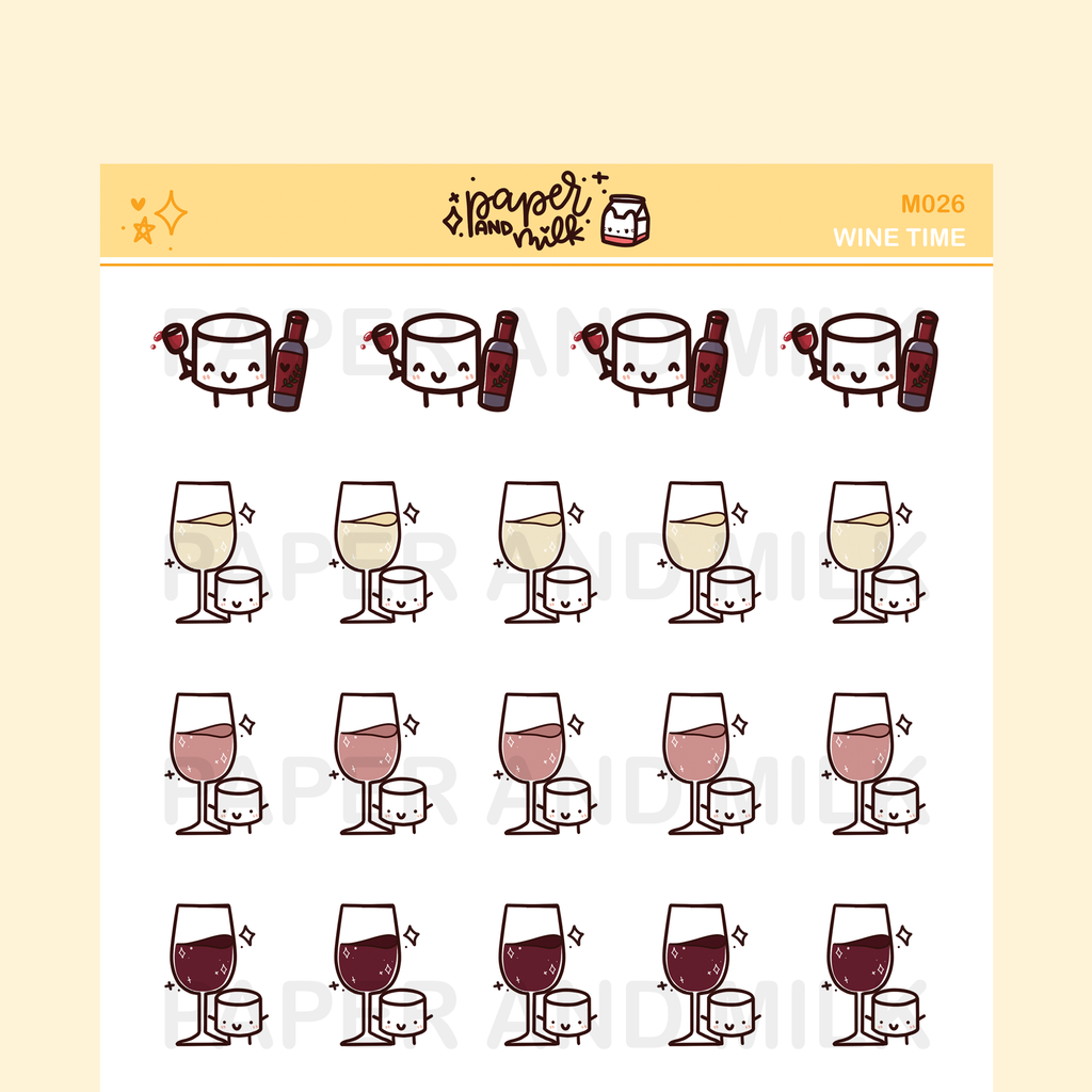 White - Rose - Red Wine | Maru the Mini Marshmallow Stickers