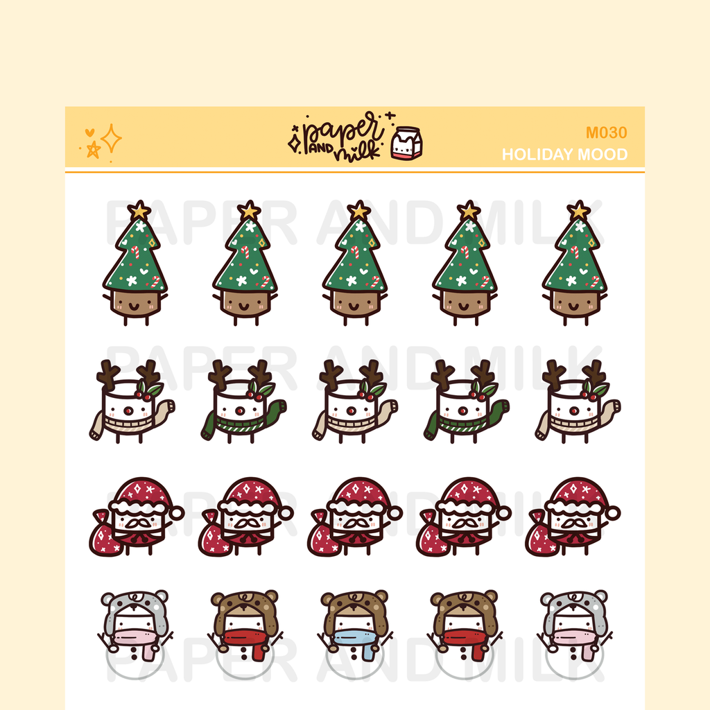 Holiday Mood | Maru the Mini Marshmallow Stickers