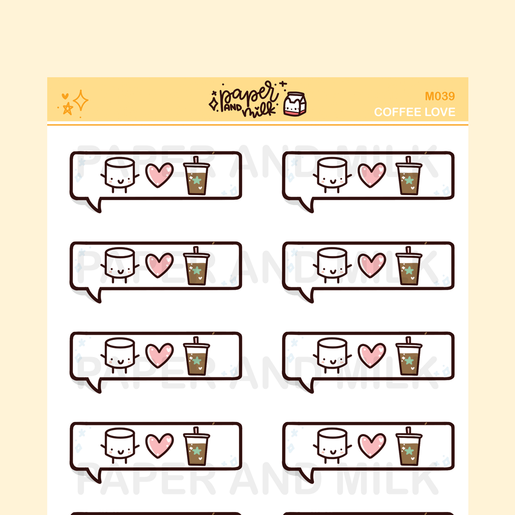 Coffee - Love Bubble | Maru the Mini Marshmallow Stickers
