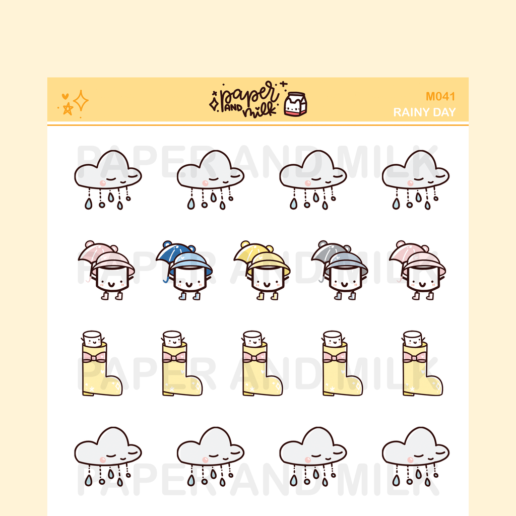 Rainy Day | Maru the Mini Marshmallow Stickers