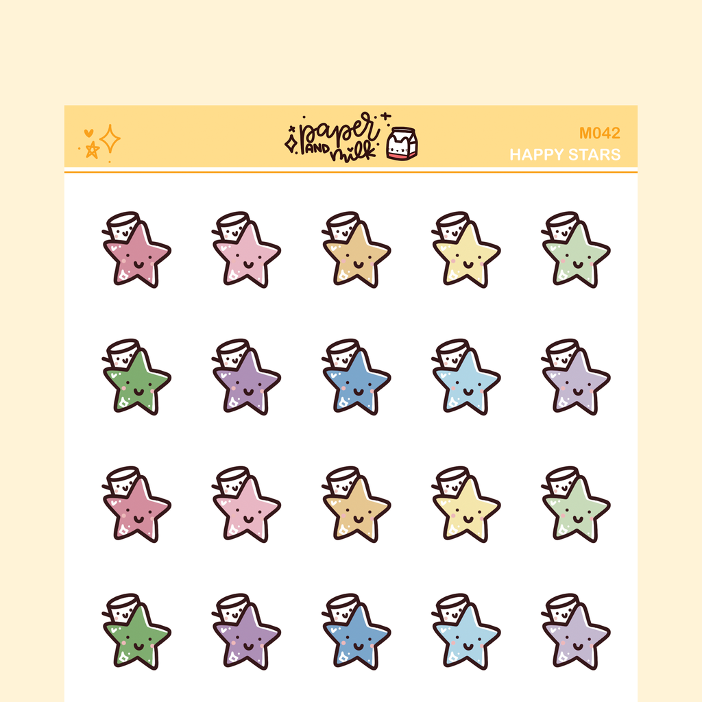 Happy Stars | Maru the Mini Marshmallow Stickers