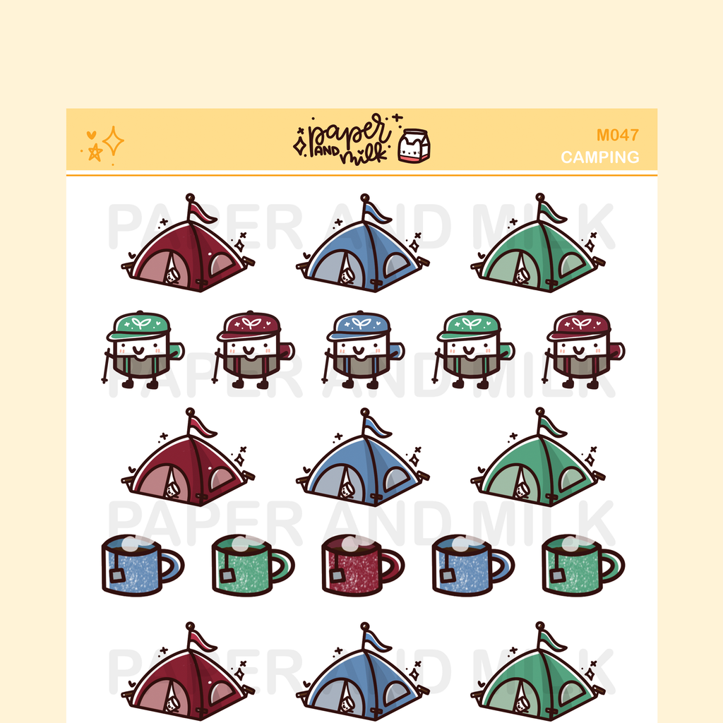 Camping | Maru the Mini Marshmallow Stickers