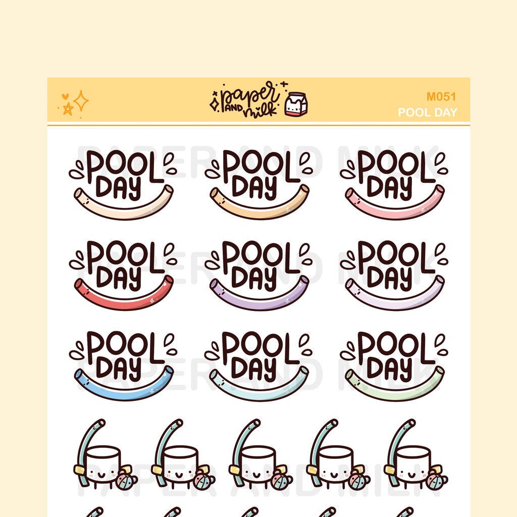 Pool Day | Maru the Mini Marshmallow Stickers