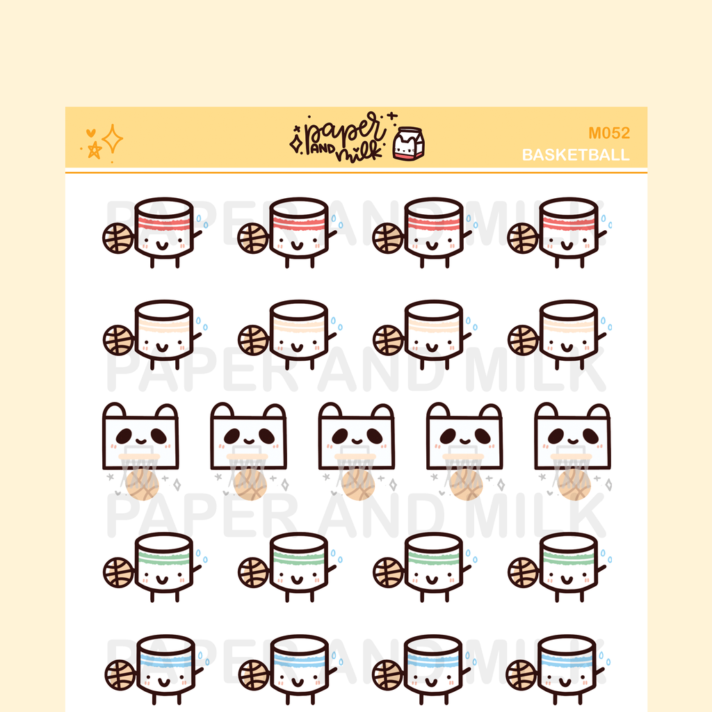 Basketball | Maru the Mini Marshmallow Stickers