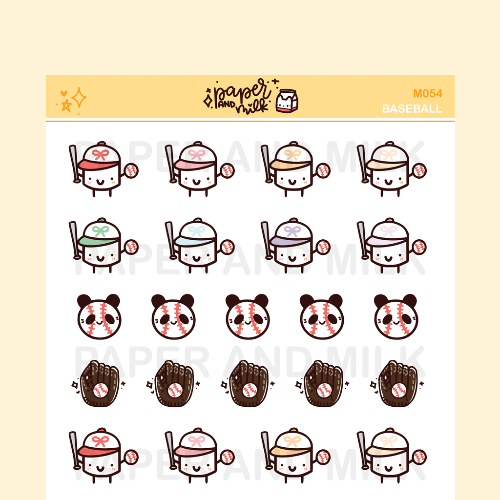 Baseball | Maru the Mini Marshmallow Stickers
