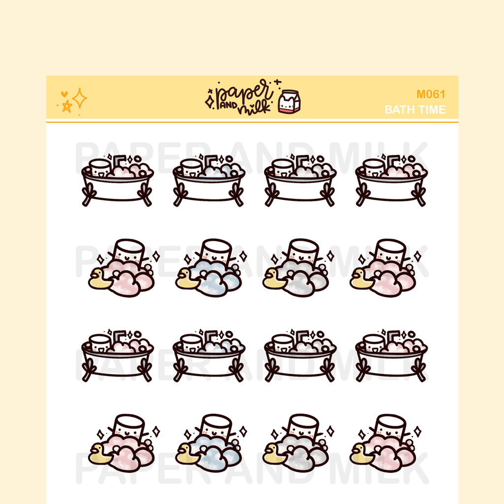 Bath Time | Maru the Mini Marshmallow Stickers