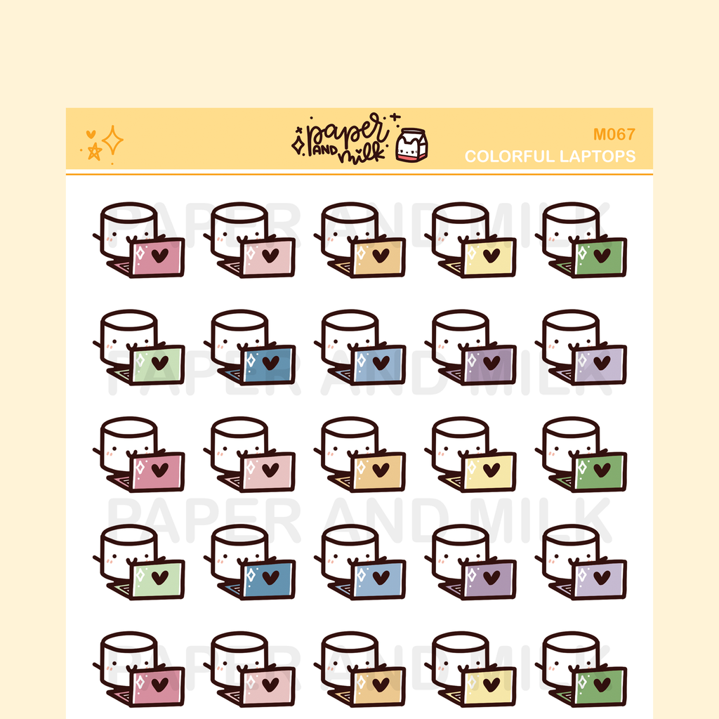 Colorful Laptop | Maru the Mini Marshmallow Stickers