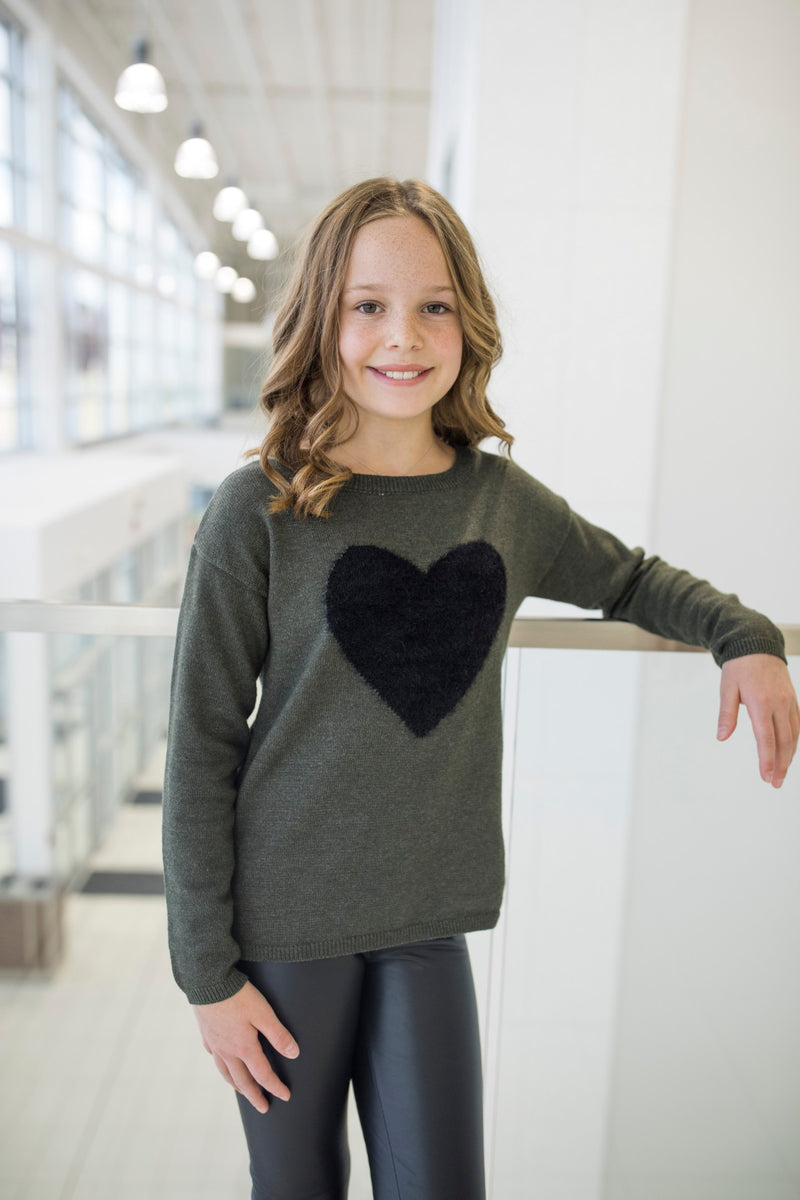 Knitted Sweater with Heart Detail