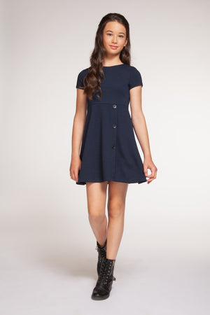 Short Sleeve A-Line Dress with Button Detail