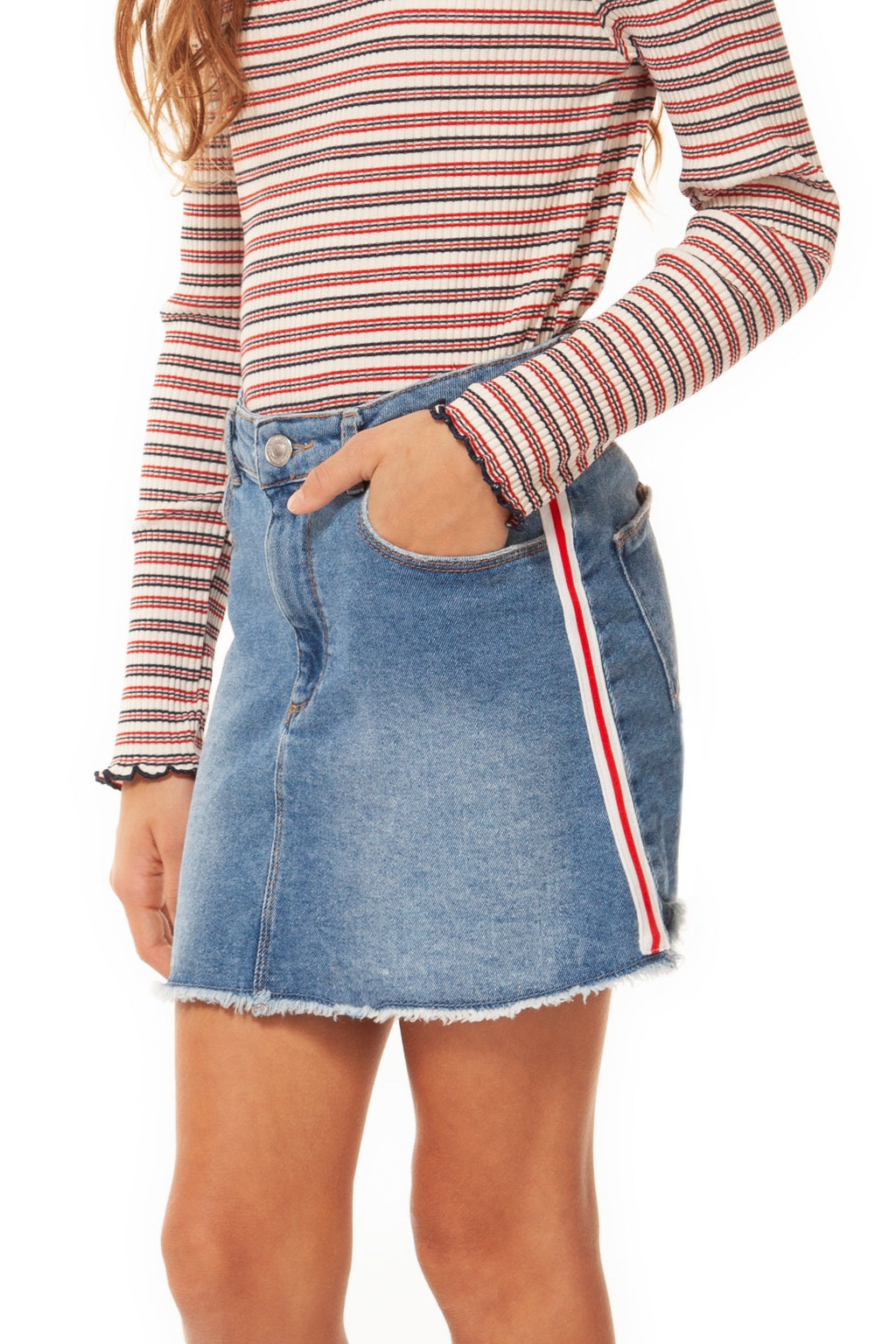 Denim Skirt with Side Seam Tape Detail