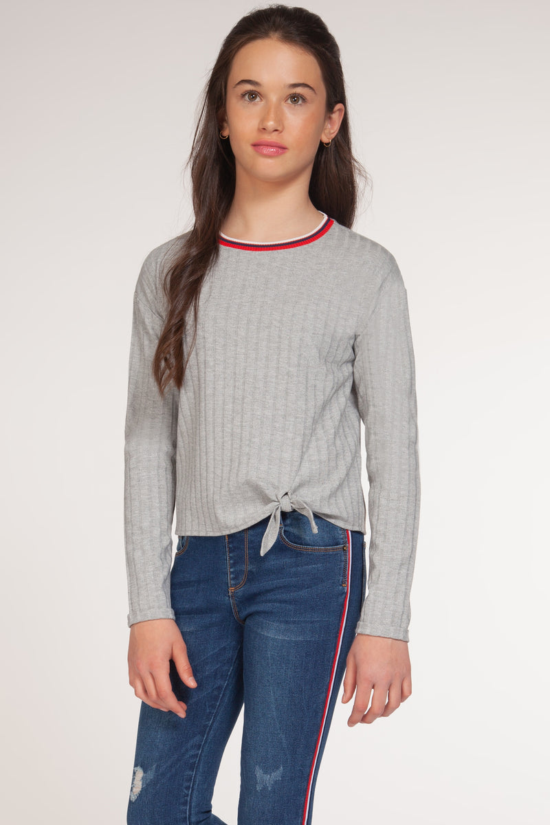 Long Sleeve Top with Knot and Athletic Stripes