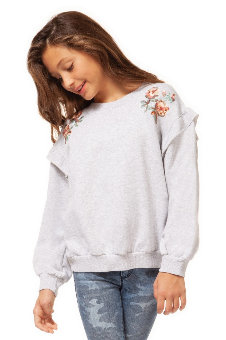 Sweater with Ruffle and Embroidery Detail