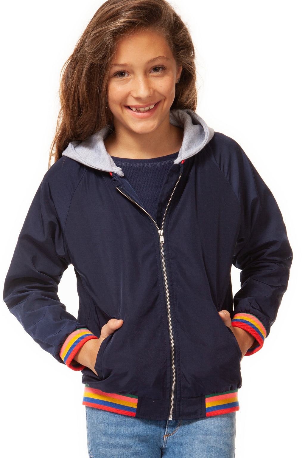 Zip-Up Hooded Jacket with Striped Bands