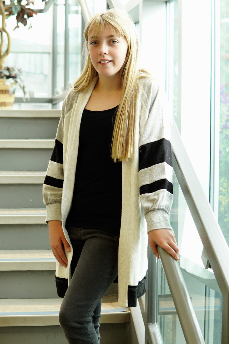 Cozy Long Stripe Sleeve Cardigan