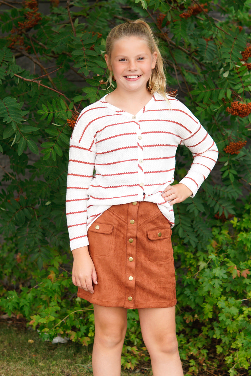 Striped Waffle Long Sleeve with Button Details