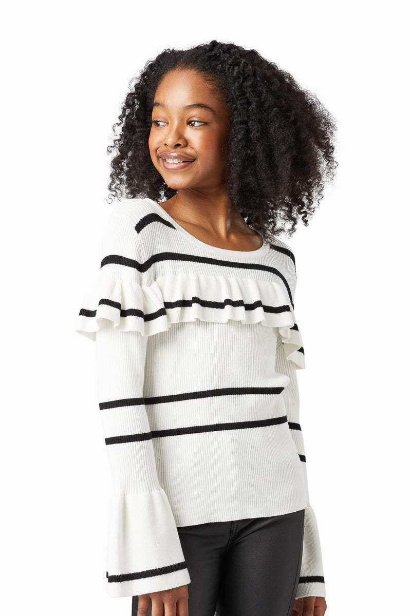 Nayla Stripe Ruffle Knit Sweater