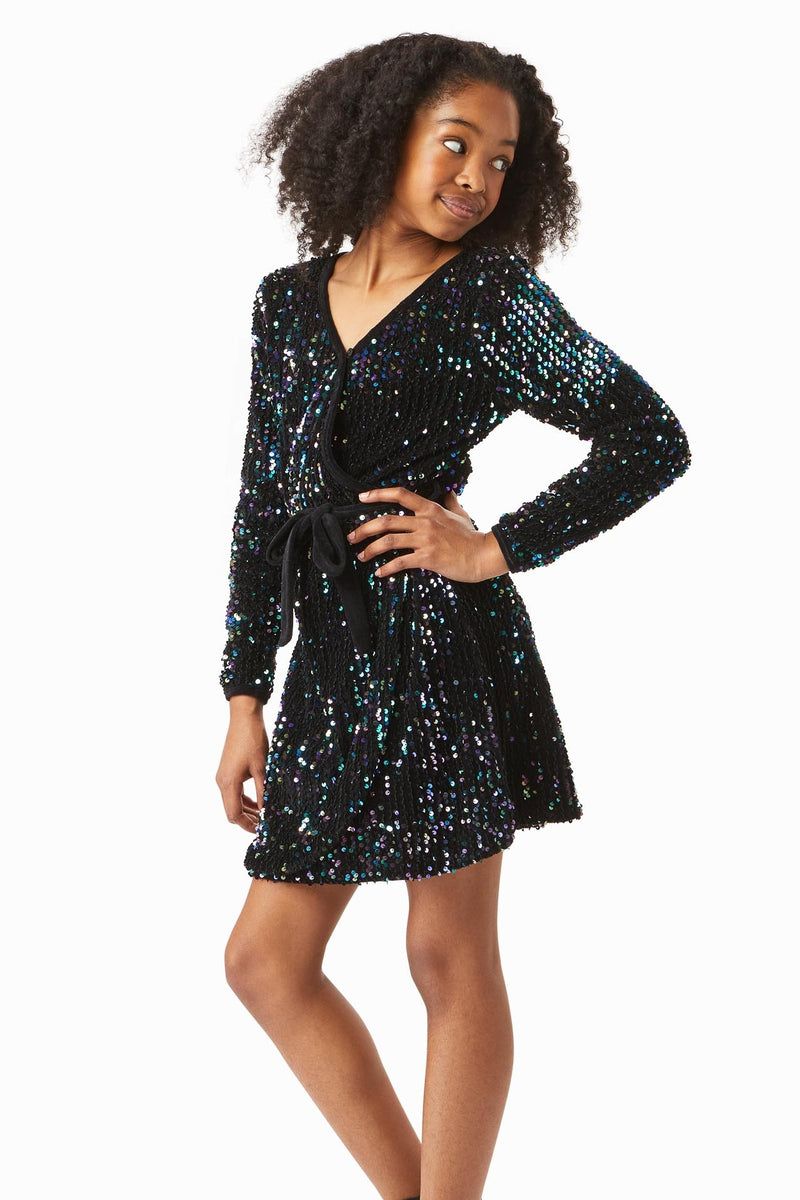 Raven Multi Sequins Wrap Dress