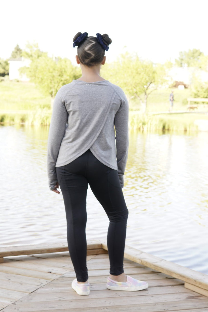 Long Sleeve Activewear Top with Back Detail