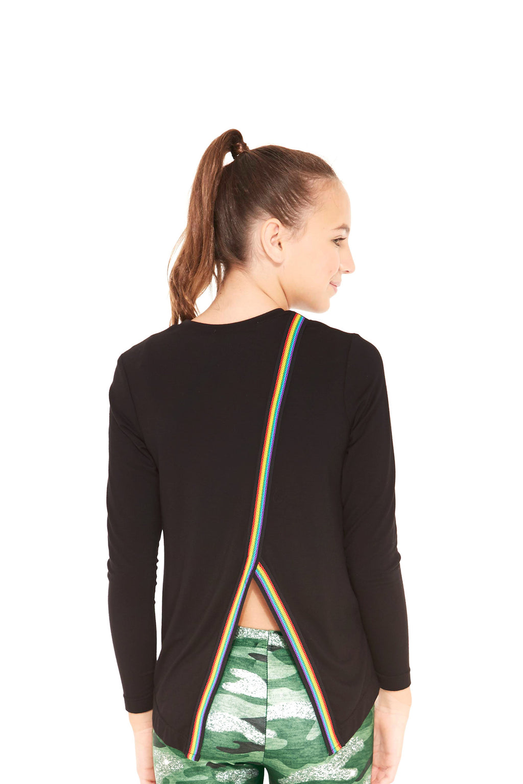 Rainbow Trim Back Long Sleeve Top