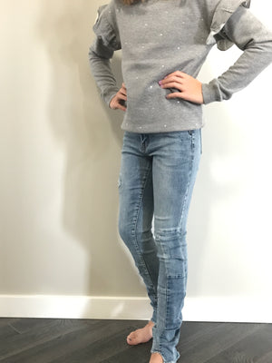 Distressed Jegging Fit Denim