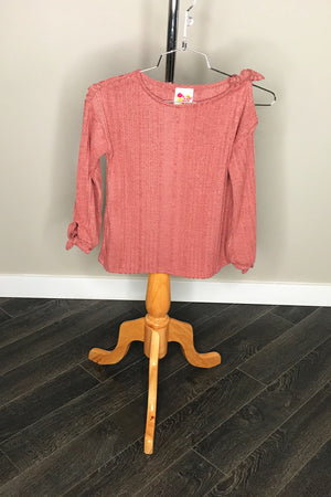 Brushed Long Sleeve With Cold Shoulder And Blouson Sleeves