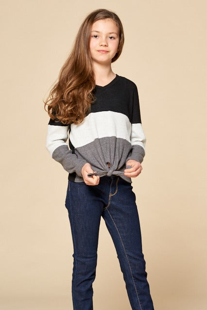 Long Sleeve Colour Block Top with Tie Front