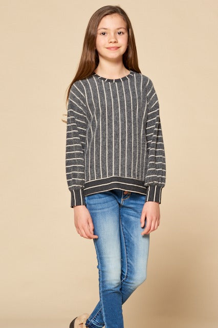 Inverse Striped Long Sleeve Top