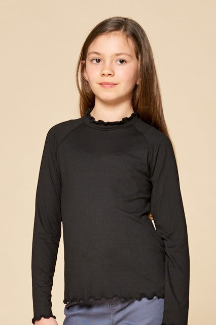 Long Sleeve Mock Neck with Ruffle Sleeves