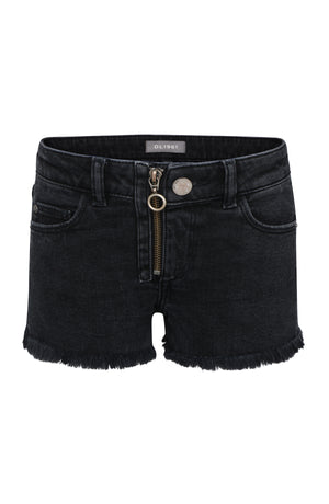 Premium Denim Shorts with Zipper Pull